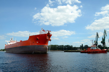 Tanker entering the port, Gdansk in Poland
