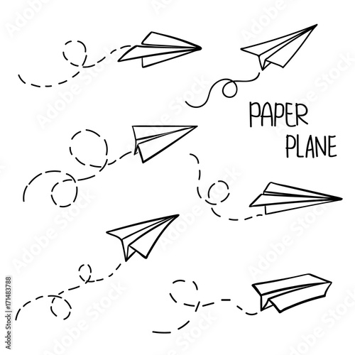 Vector Paper Airplane Travel Route Symbol Set Of Vector