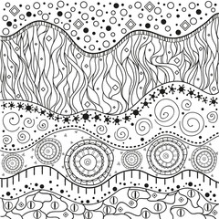 Abstract eastern pattern. Hand drawn texture with abstract patterns on isolation background. Design for spiritual relaxation for adults. Line art. Black and white illustration. Print for t-shirts