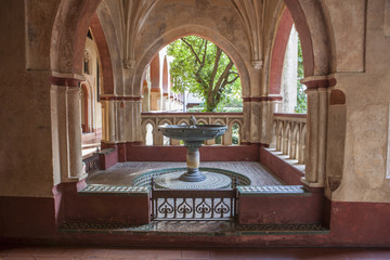 Baptismal font at Mudejar cloister of Guadalupe Monastery