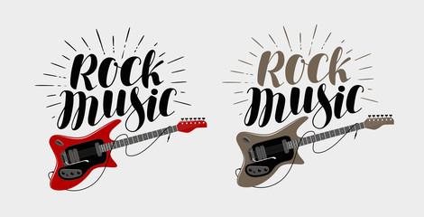 Rock music lettering. Guitar, musical string instrument symbol. Vector illustration