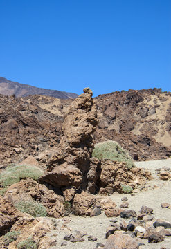 Volcanic stones and volcanic view in Teide National Park