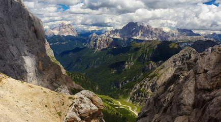 View of Dolomites from Pass de Ombretta towards Civetta and Pelmo peaks