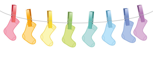 Baby socks on clothes line - rainbow colored cute woolen set clipped with eight colorful clothespins. Isolated vector comic illustration on white background.