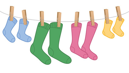 Clothes line with wool socks, family set - different colors and sizes for parents and children. Isolated vector comic illustration on white background.
