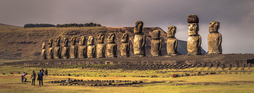 Ahu Tongariki, Easter Island - July 10, 2017: Moai altar of Tongariki, Easter Island
