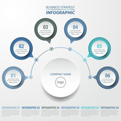 6 steps modern and clean Business Infographics design template