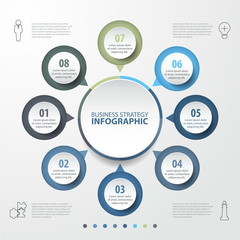 8 steps modern and clean Business Infographics