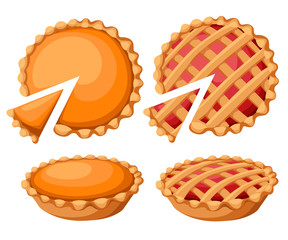 Fototapeta Pies Vector Illustration.Thanksgiving and Holiday Pumpkin Pie. Happy Thanksgiving Day traditional pumpkin pie with whipped cream on the top Web site page and mobile app design vector element obraz