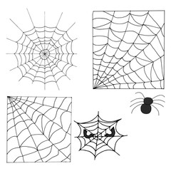 Hand Drawn Halloween Set. Web and spider.