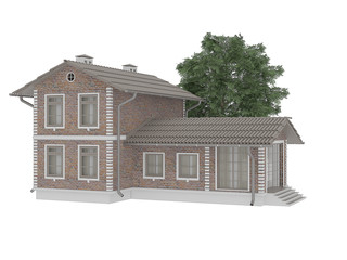 3D model of the brick house. The isolated object on a white background