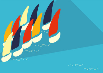 Vector Poster Template or Illustration for Boat Race or Sailing Crew known as Yacht Regatta.