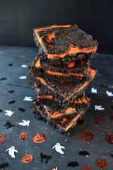 Halloween brownies with orange creamcheese filling
