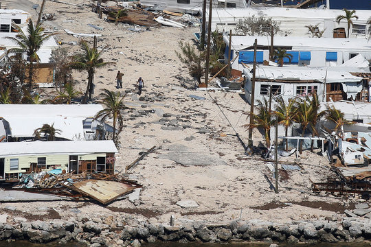 A destroyed trailer park is pictured in an aerial photo in the Keys in Marathon