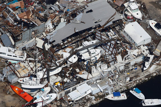 A destroyed marina is pictured in an aerial photo in the Keys in Marathon