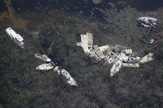 Destroyed boats are pictured in an aerial photo in the Keys in Marathon