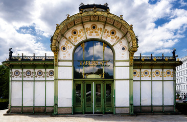 Karlsplatz Stadtbahn, old subway pavillon of XIX century jugendstil architecture in Vienna, Austria
