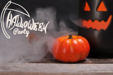 Halloween,  spooky pumpkin with smoke in the dark night