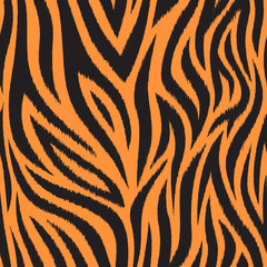 Seamless pattern with tiger skin. Black and orange tiger stripes. Popular texture.