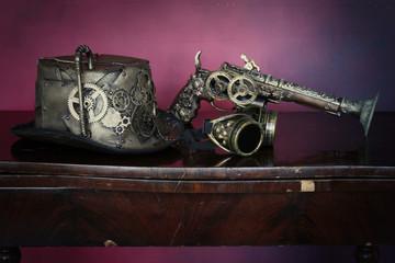 Steampunk ,cappello,pistola, fine 800