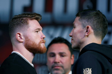 Middleweight boxers Canelo Alvarez of Mexico and Gennady Golovkin of Kazakhstan face off during a news conference in Las Vegas