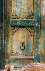 A Beautiful Colorful Carved Wooden Door as an  Architectural Art Design Element