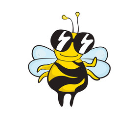 A funny smiling bee in sunglasses, a cartoon illustration.