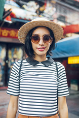 Portrait of a Beautiful Asian Woman With Sunglasses
