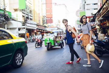 Couple Strolling Around Bangkok