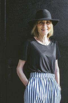 Portrait of a happy stylish senior woman.