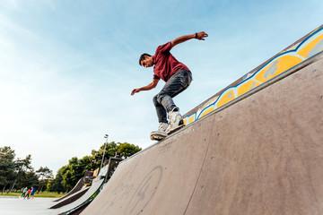 Man in skatepark