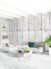 White bedroom minimal style Interior design with wood wall and grey sofa. 3D Rendering. 3D illustration