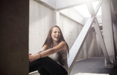 Sitting on a steel beam & having fun