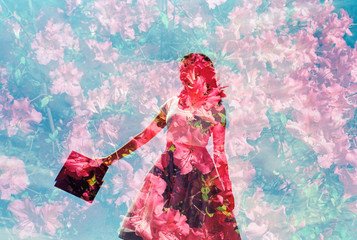 Double Exposure of young woman holding graduation cap in a field of red flowers