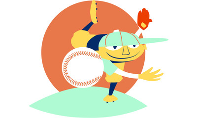 Baseball Retro Style, Pitcher throwing