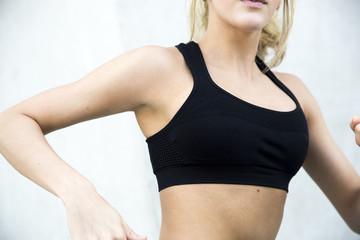 Closeup of a woman exercising