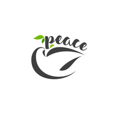 Calligraphic lettering peace and pigeon with branch