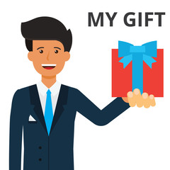 Handsome businessman holding gift box in hand. Present, prize, corporate client. sales, loyality system. Flat vector illustration isolated on white background.