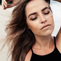 Beautiful woman summer closeup
