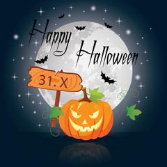 Halloween pumpkin under the moonlight vector illustration