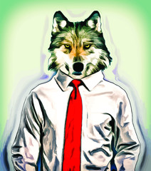Wolf wearing shirt and tie in office