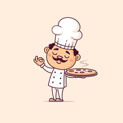 Italian chef holding pizza vector cartoon illustration