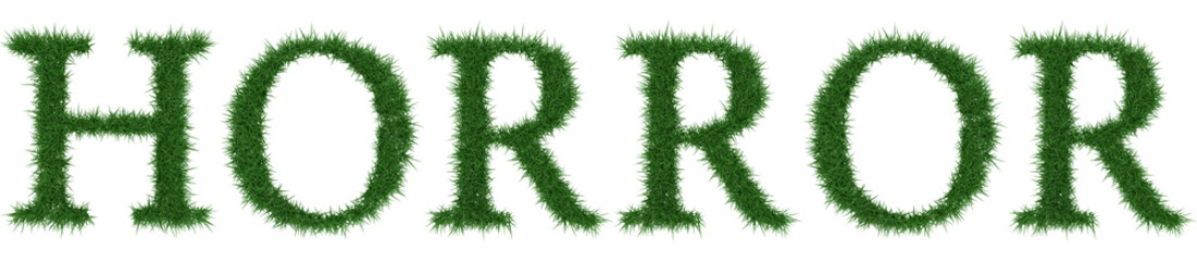 Horror - 3D rendering fresh Grass letters isolated on whhite background.