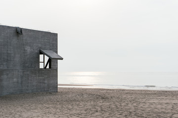 The exterior of a building along the seaside