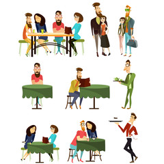Vector cafe visitors flat icons set