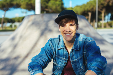 Skater young man in a skatepark