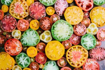 Multi colored heirloom tomatoes