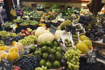Selection of Fresh Fruits on Indoor Market Display in London