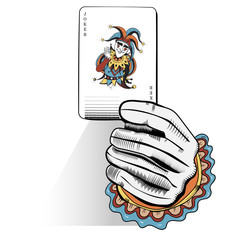 Illustration of hand holding a card