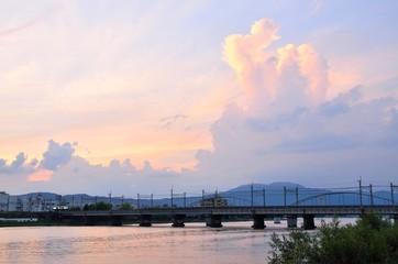 夕暮れの瀬田川